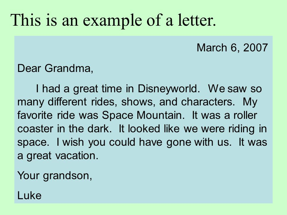 This is an example of a letter.