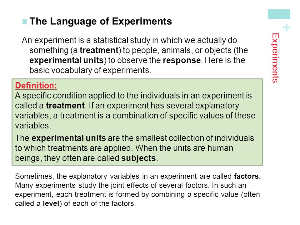 The Language of Experiments