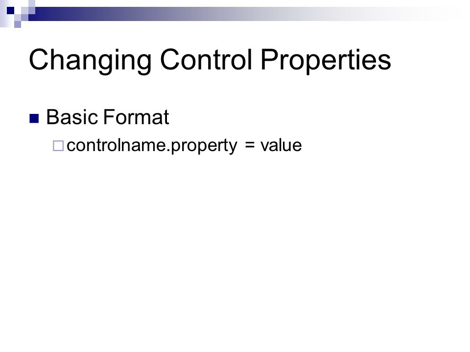 Changing Control Properties