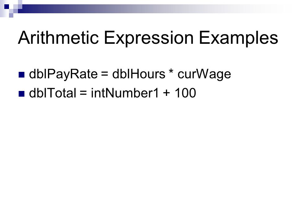 Arithmetic Expression Examples