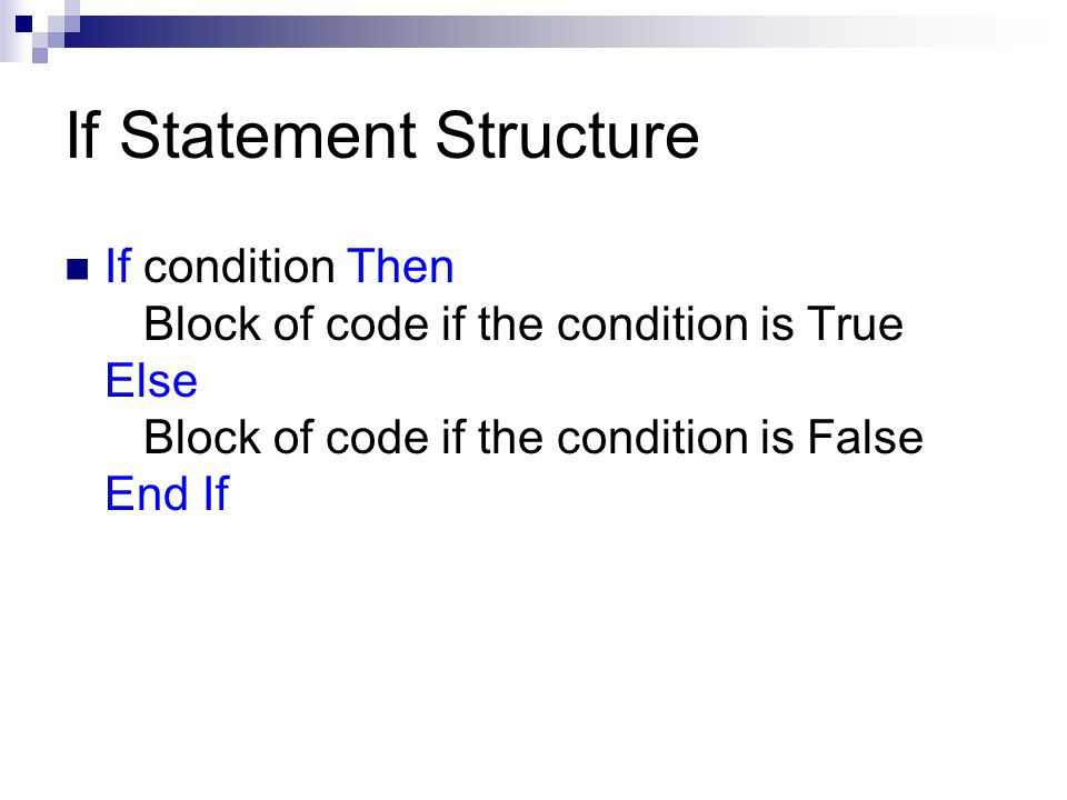If Statement Structure