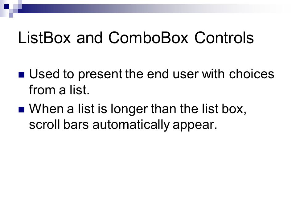 ListBox and ComboBox Controls