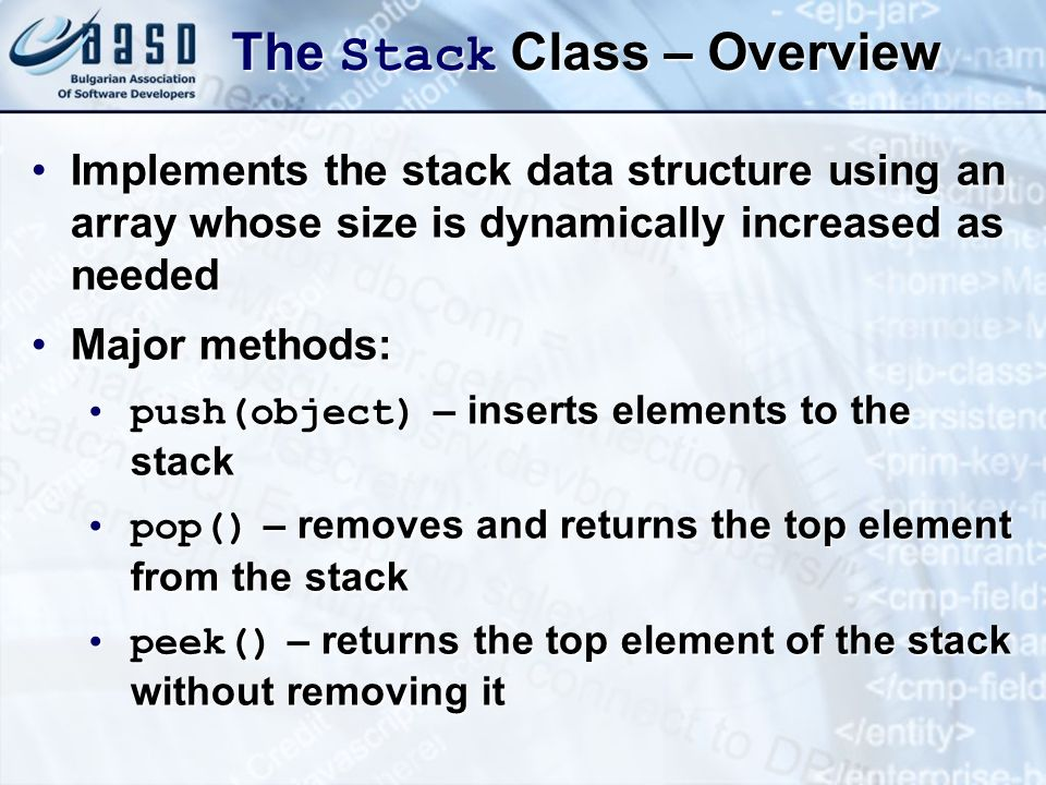 The Stack Class – Overview
