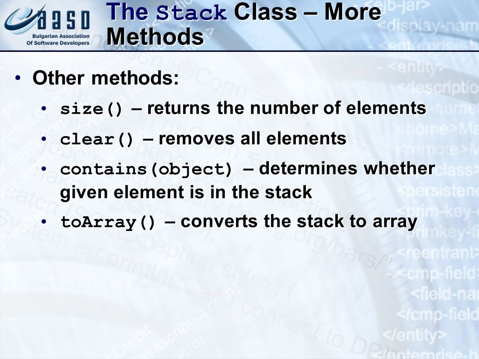 The Stack Class – More Methods