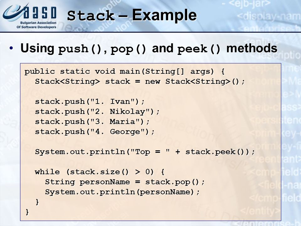 Stack – Example Using push(), pop() and peek() methods