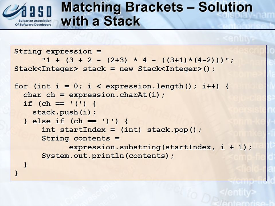 Matching Brackets – Solution with a Stack