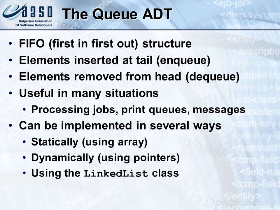The Queue ADT FIFO (first in first out) structure
