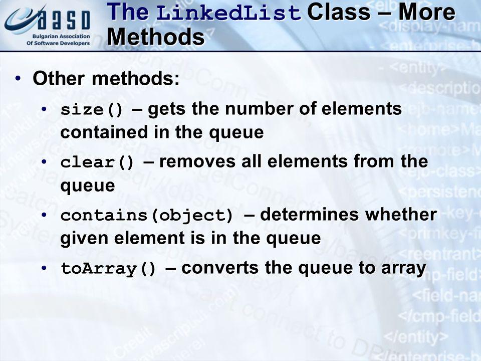The LinkedList Class – More Methods