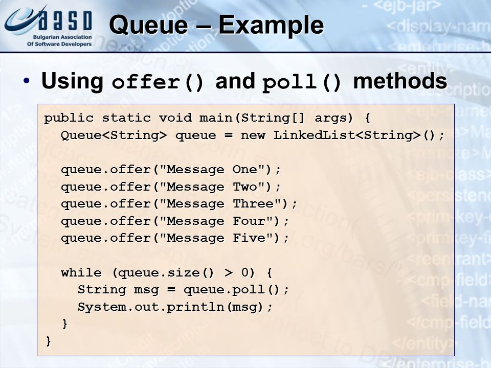 Queue – Example Using offer() and poll() methods