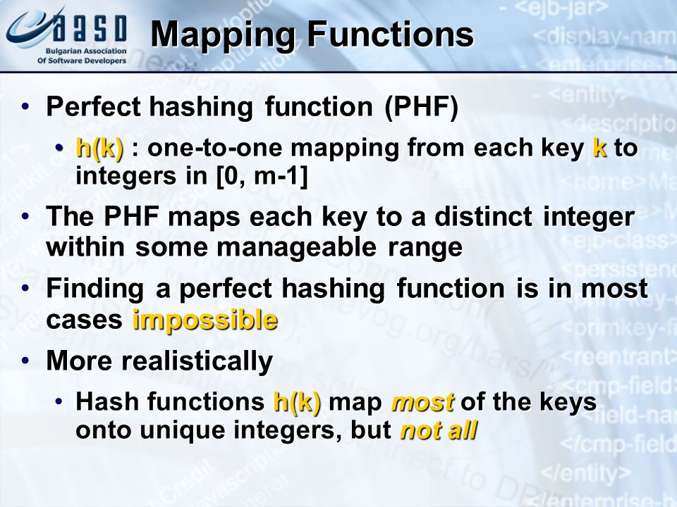 Mapping Functions Perfect hashing function (PHF)