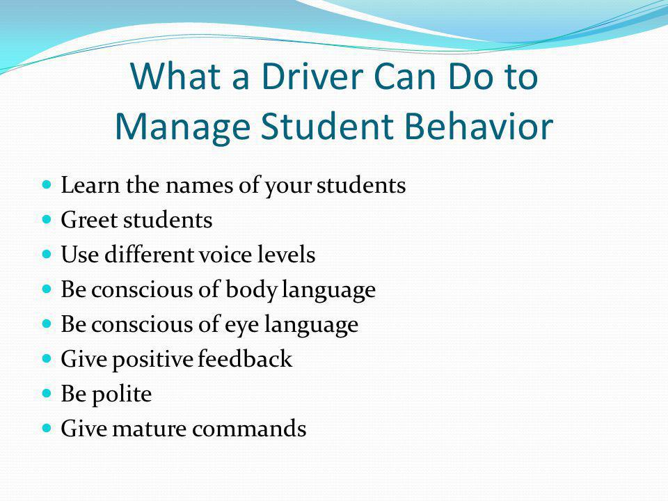 What a Driver Can Do to Manage Student Behavior
