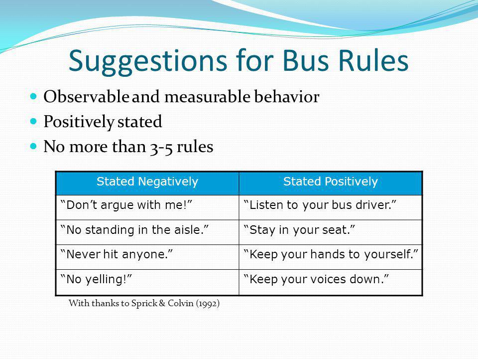 Suggestions for Bus Rules