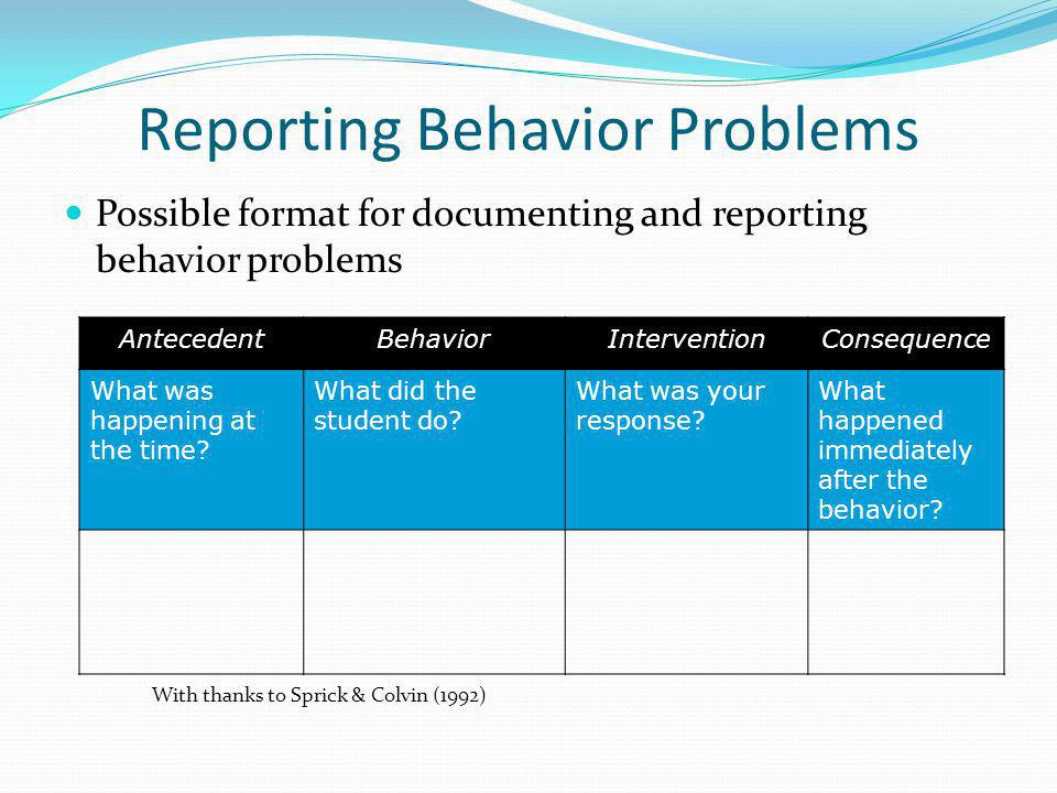 Reporting Behavior Problems