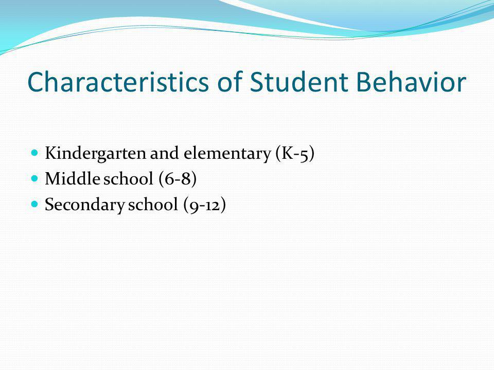 Characteristics of Student Behavior