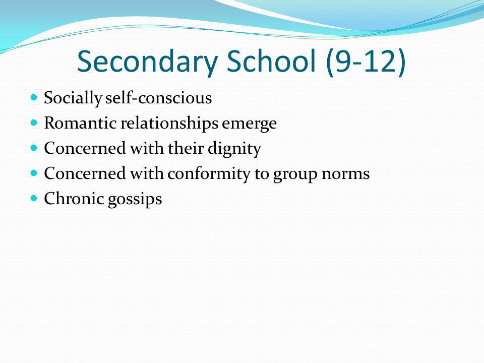 Secondary School (9-12) Socially self-conscious