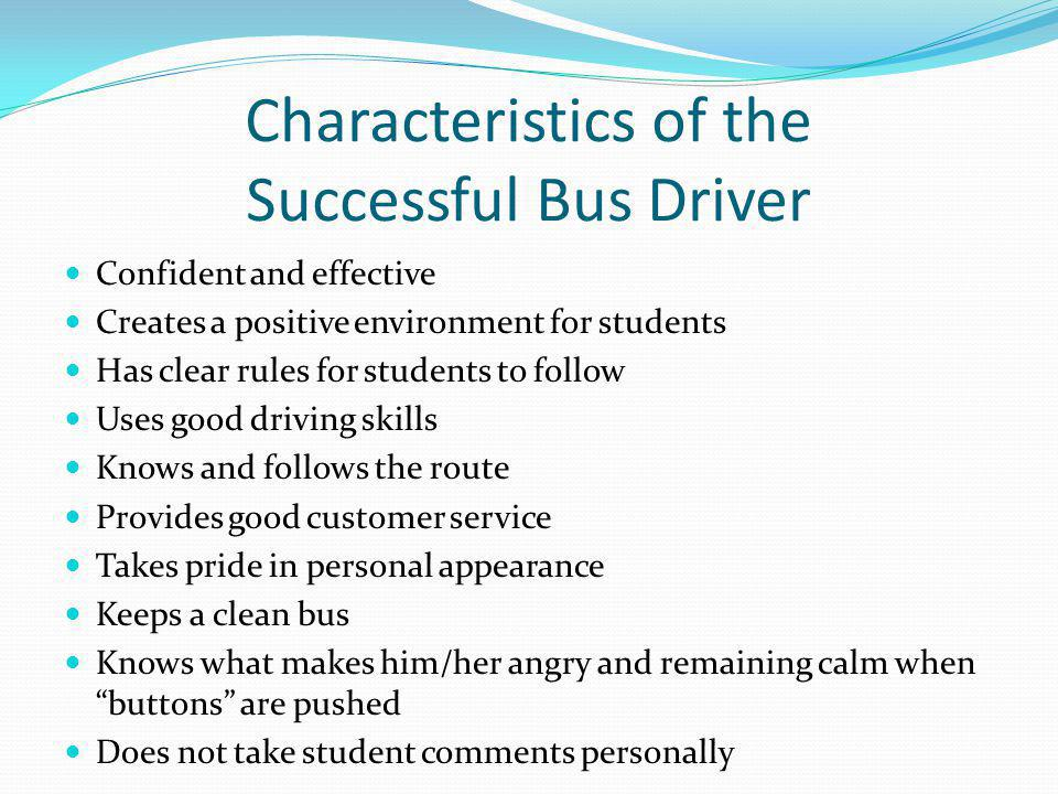 Characteristics of the Successful Bus Driver