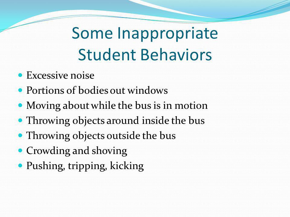 Some Inappropriate Student Behaviors