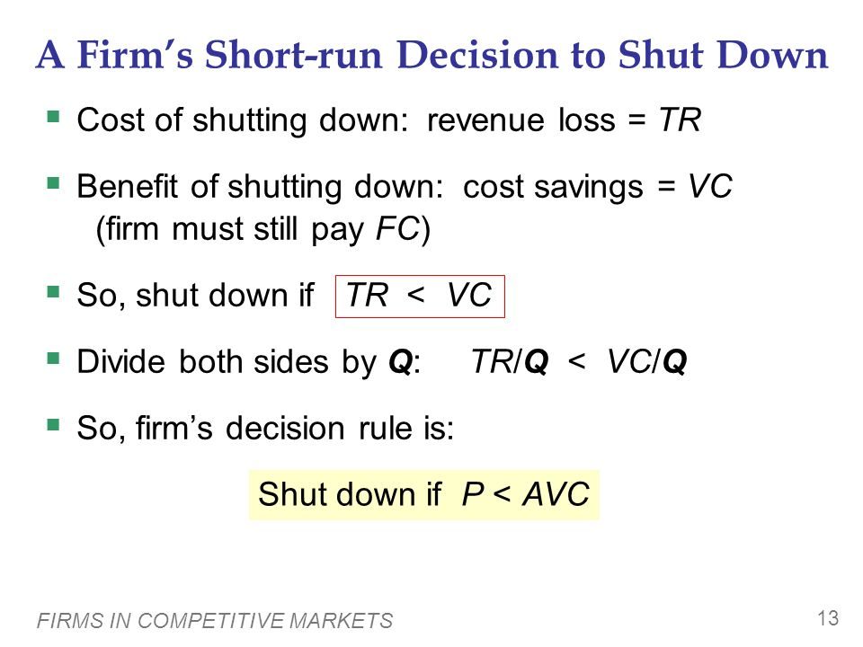 A Firm's Short-run Decision to Shut Down