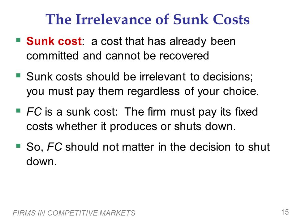The Irrelevance of Sunk Costs