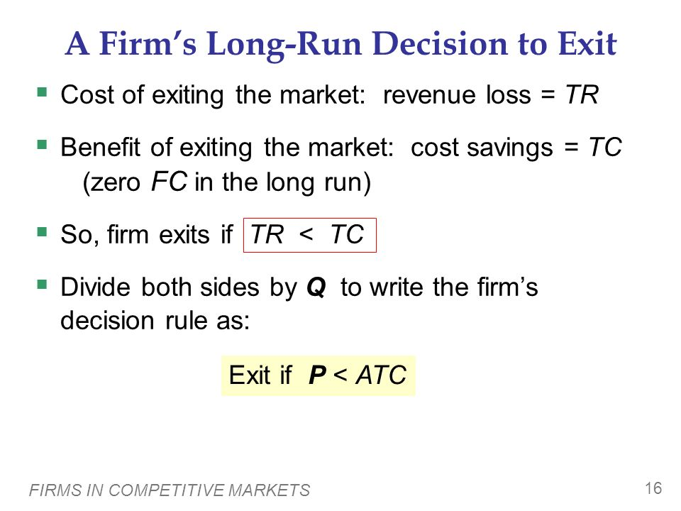 A Firm's Long-Run Decision to Exit