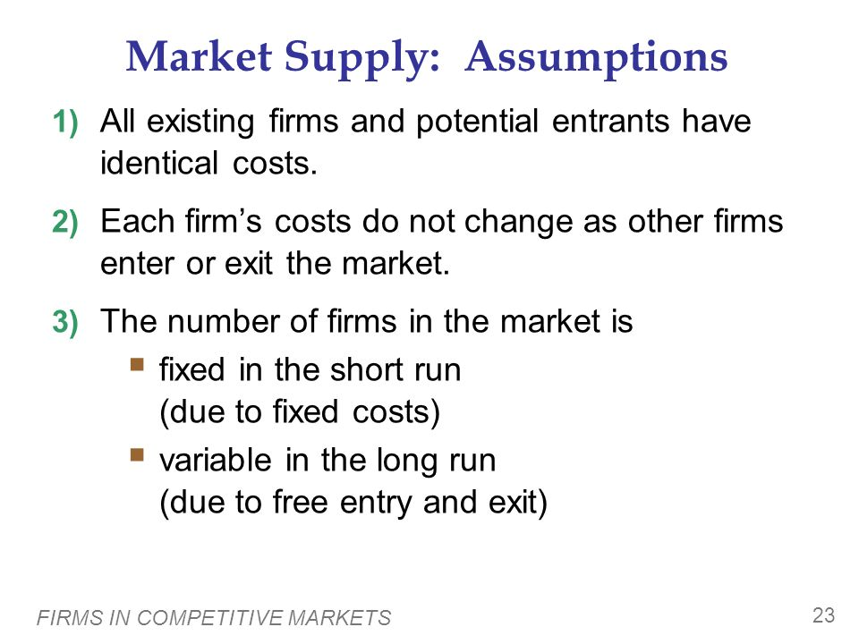 Market Supply: Assumptions