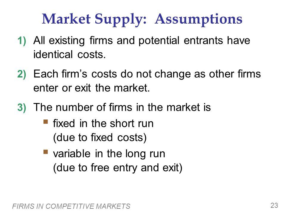 Market Supply: Assumptions