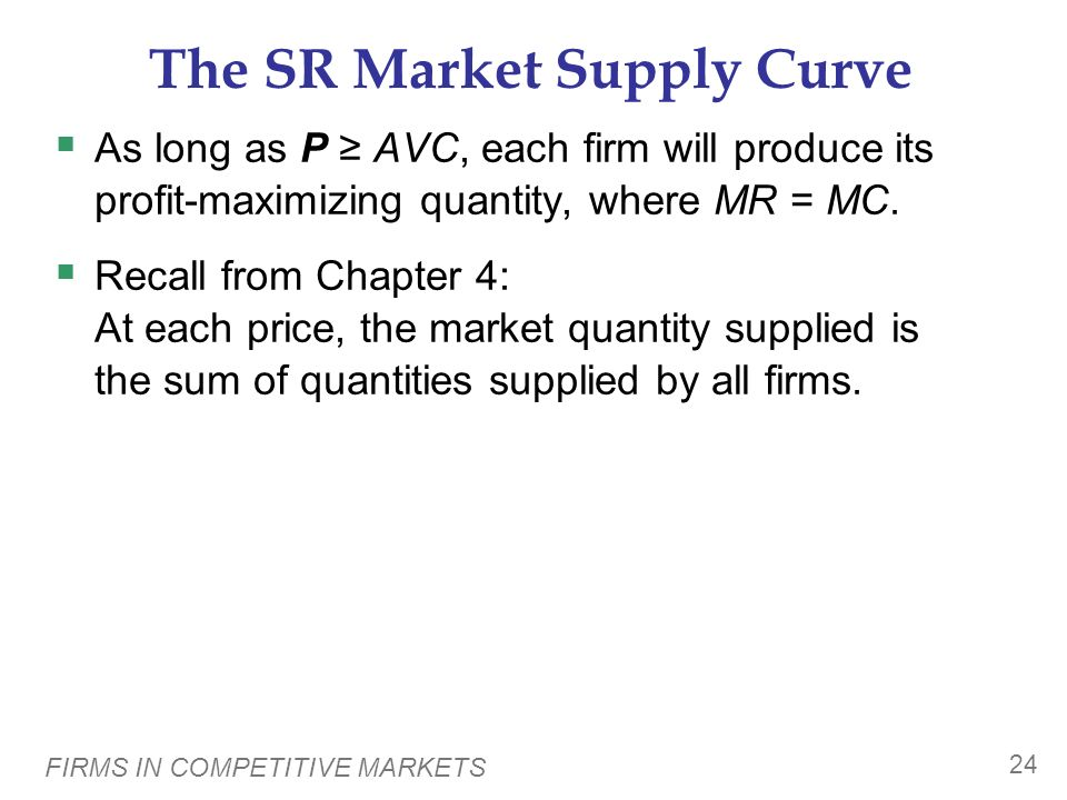 The SR Market Supply Curve