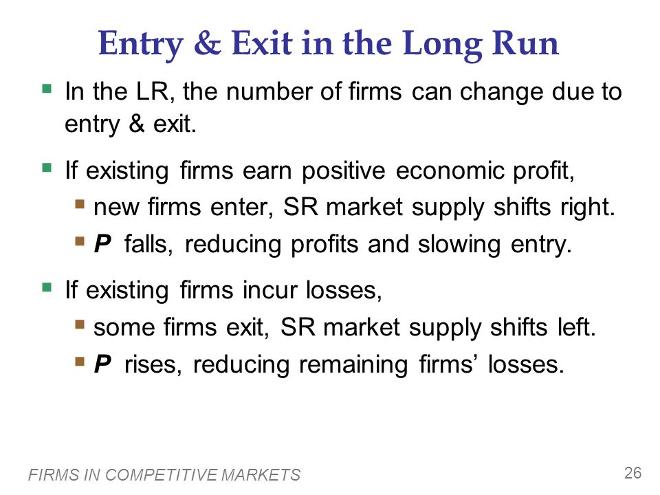 Entry & Exit in the Long Run