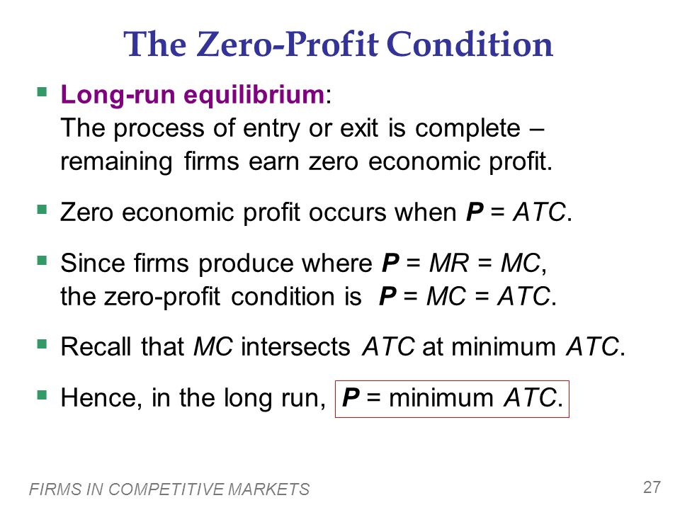 The Zero-Profit Condition
