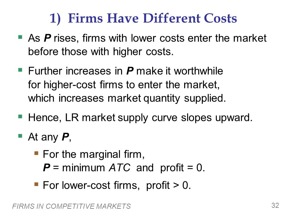 1) Firms Have Different Costs