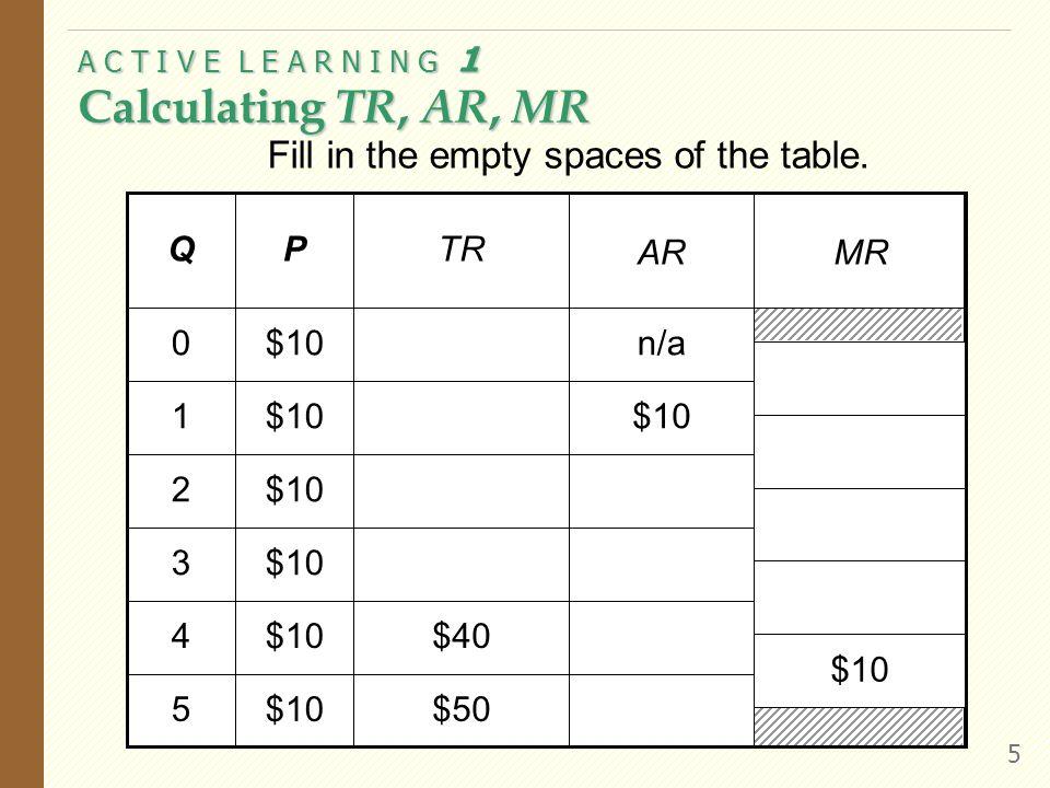A C T I V E L E A R N I N G 1 Calculating TR, AR, MR