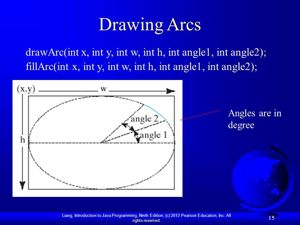 Drawing Arcs drawArc(int x, int y, int w, int h, int angle1, int angle2); fillArc(int x, int y, int w, int h, int angle1, int angle2);