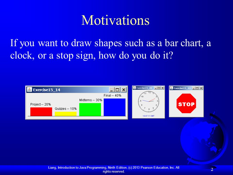 Motivations If you want to draw shapes such as a bar chart, a clock, or a stop sign, how do you do it