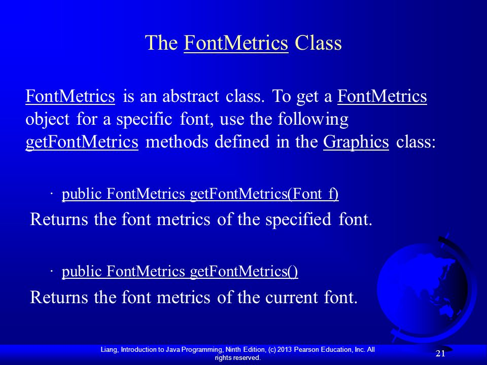 The FontMetrics Class