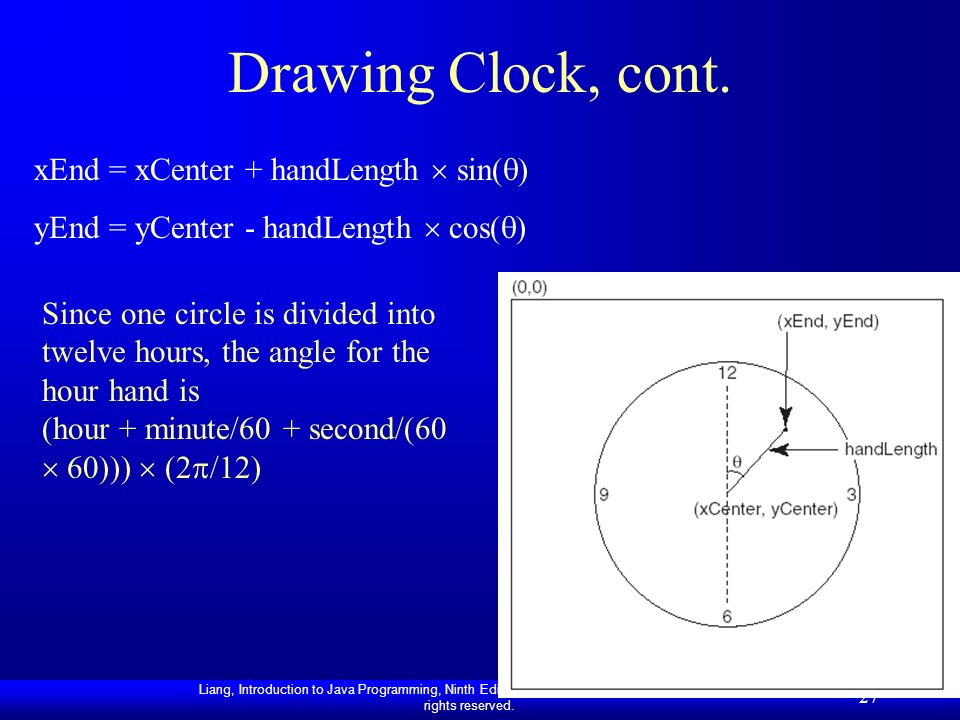 Drawing Clock, cont. xEnd = xCenter + handLength  sin()