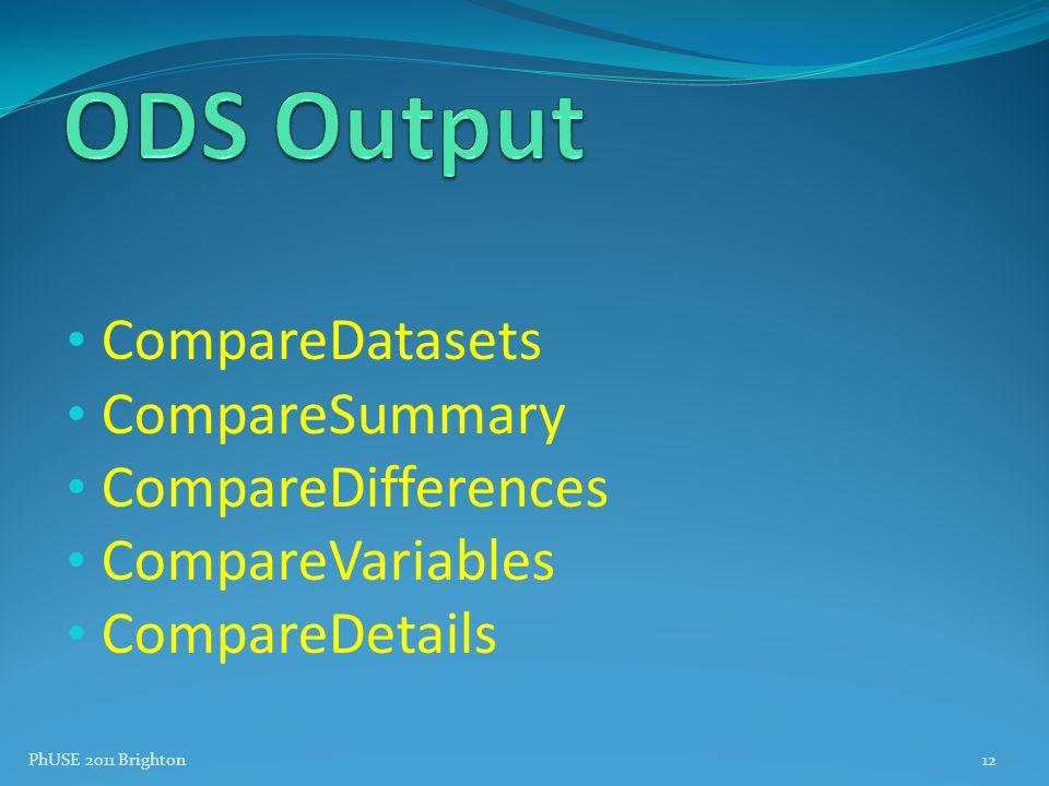 ODS Output CompareDatasets CompareSummary CompareDifferences