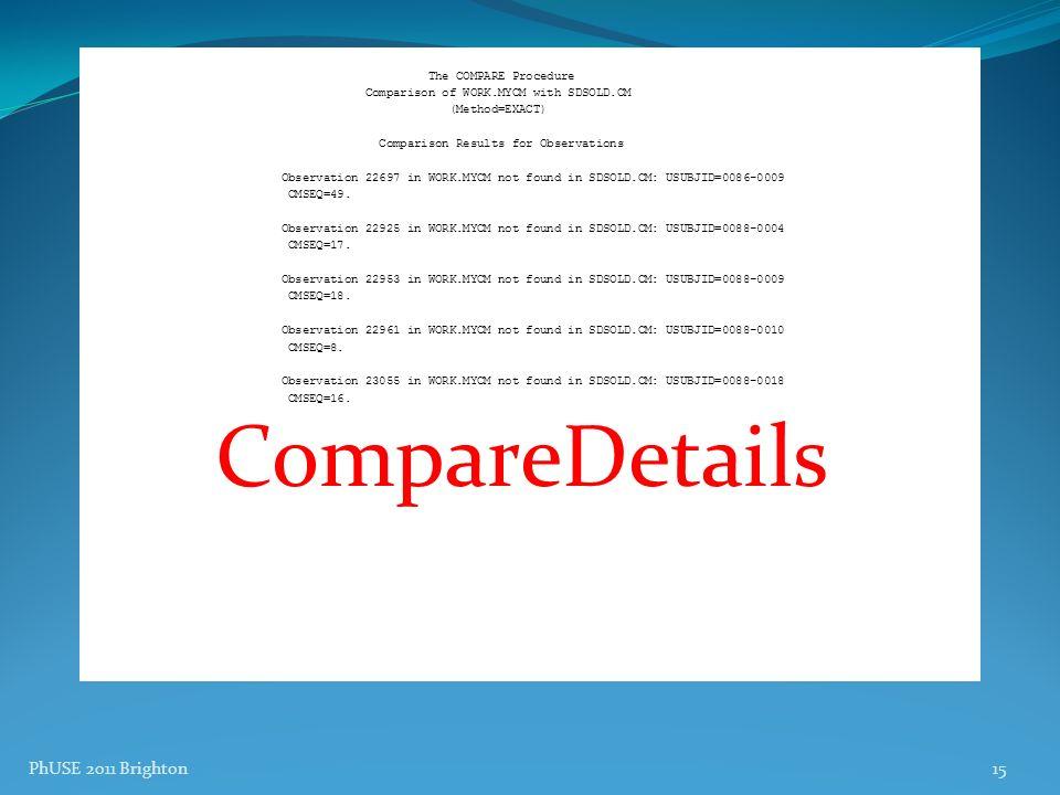 CompareDetails PhUSE 2011 Brighton The COMPARE Procedure