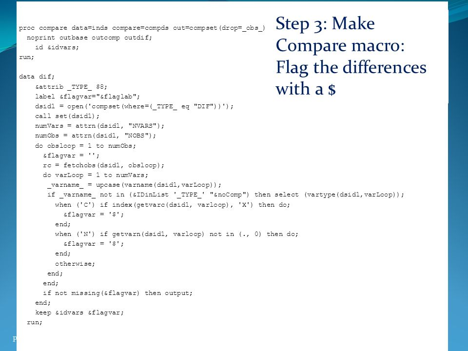 Step 3: Make Compare macro: Flag the differences with a $