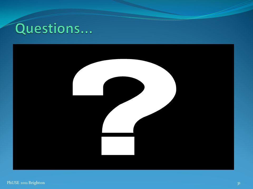 Questions... PhUSE 2011 Brighton