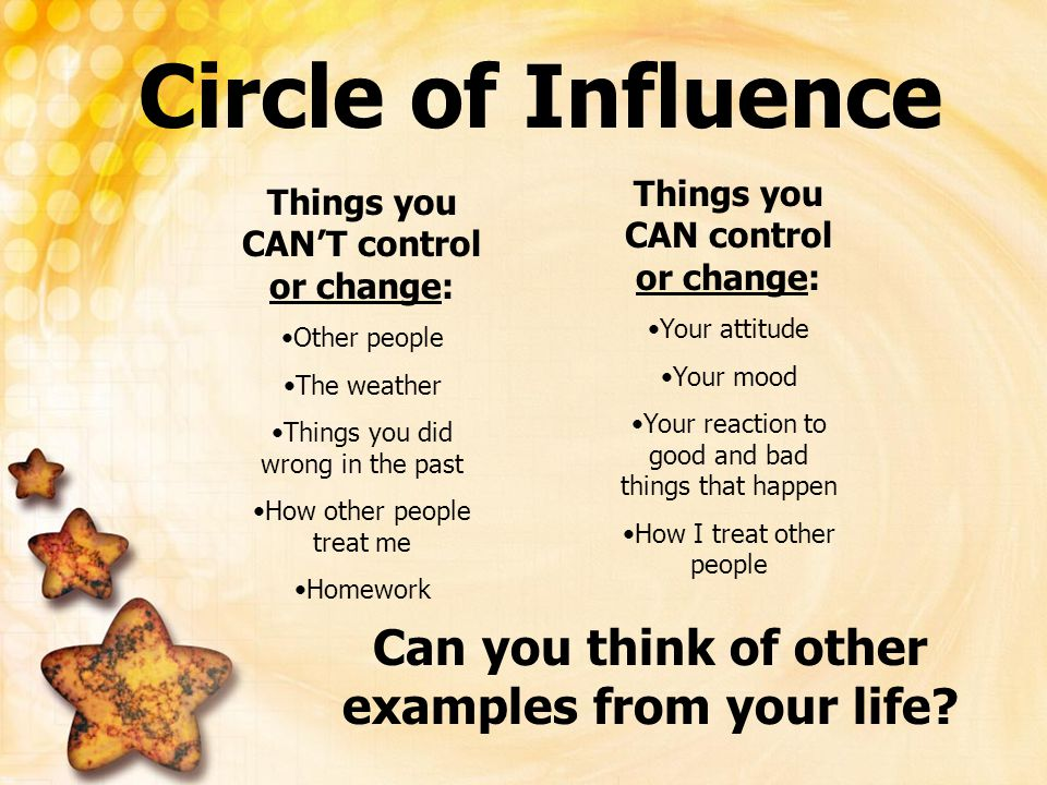 Circle of Influence Can you think of other examples from your life