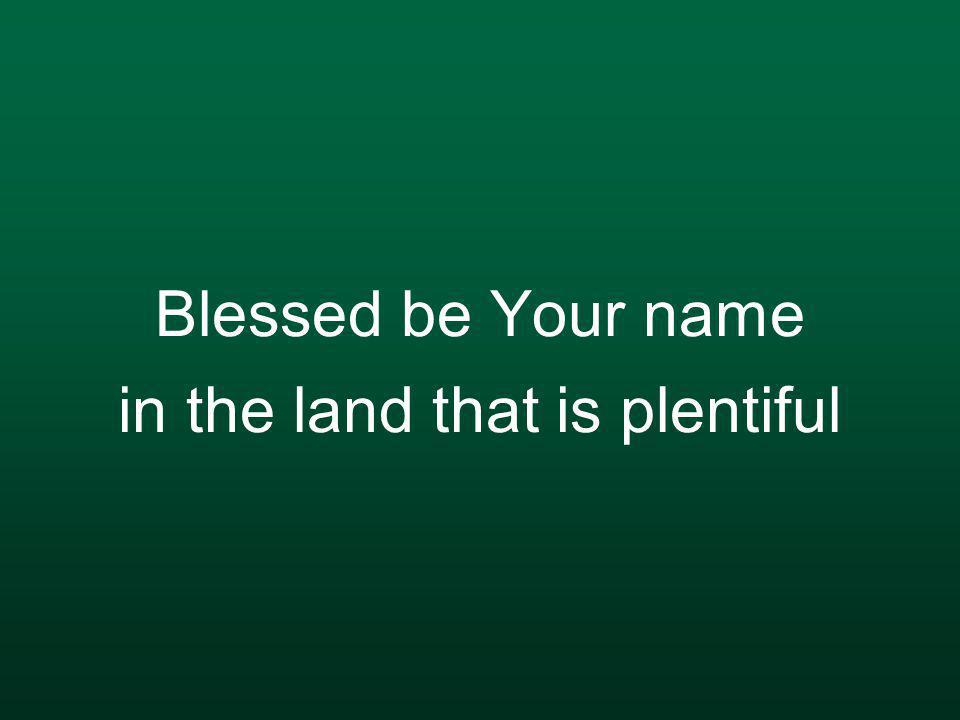Blessed be Your name in the land that is plentiful
