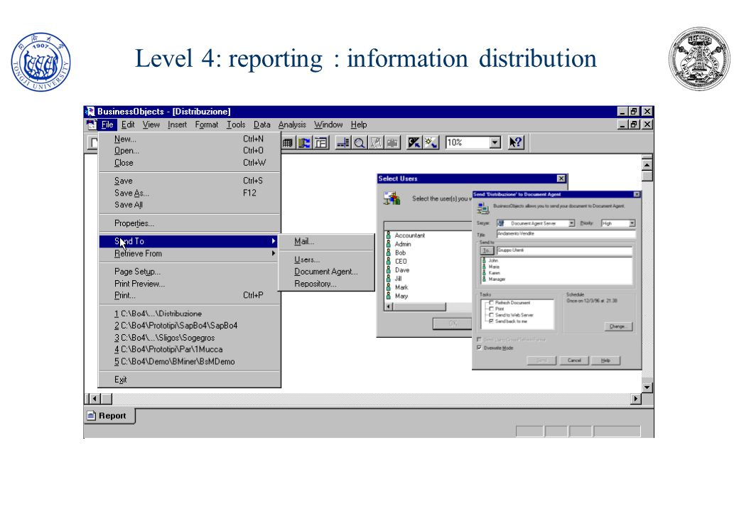Level 4: reporting : information distribution