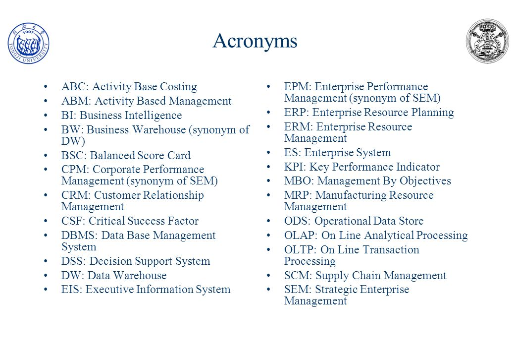 Acronyms ABC: Activity Base Costing ABM: Activity Based Management
