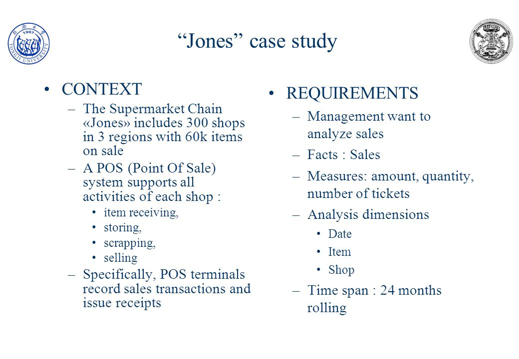 Jones case study CONTEXT REQUIREMENTS