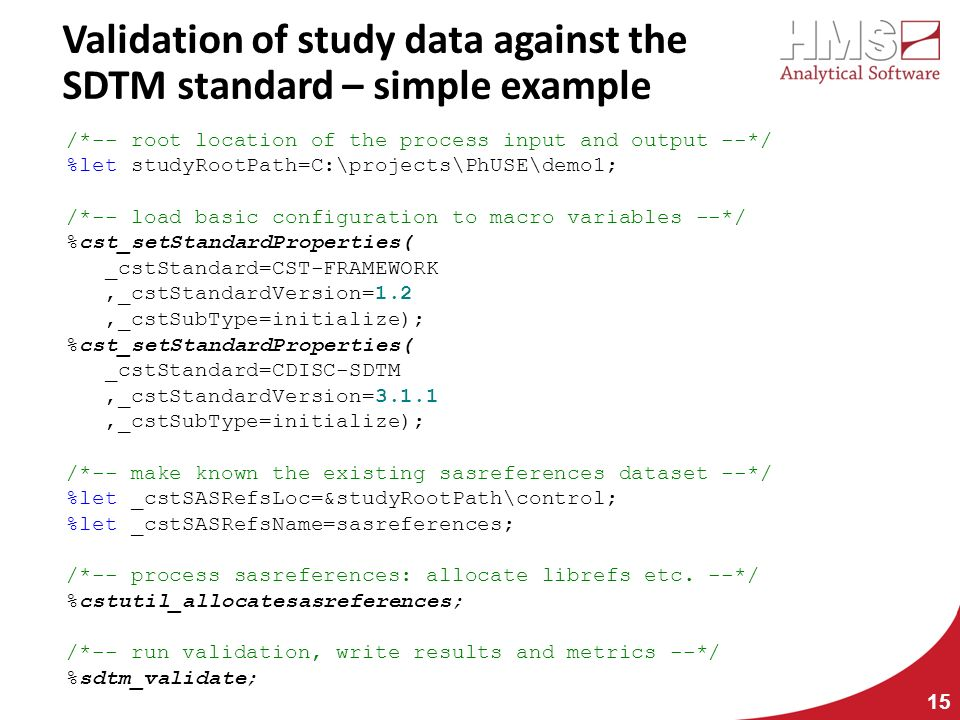 Validation of study data against the SDTM standard – simple example