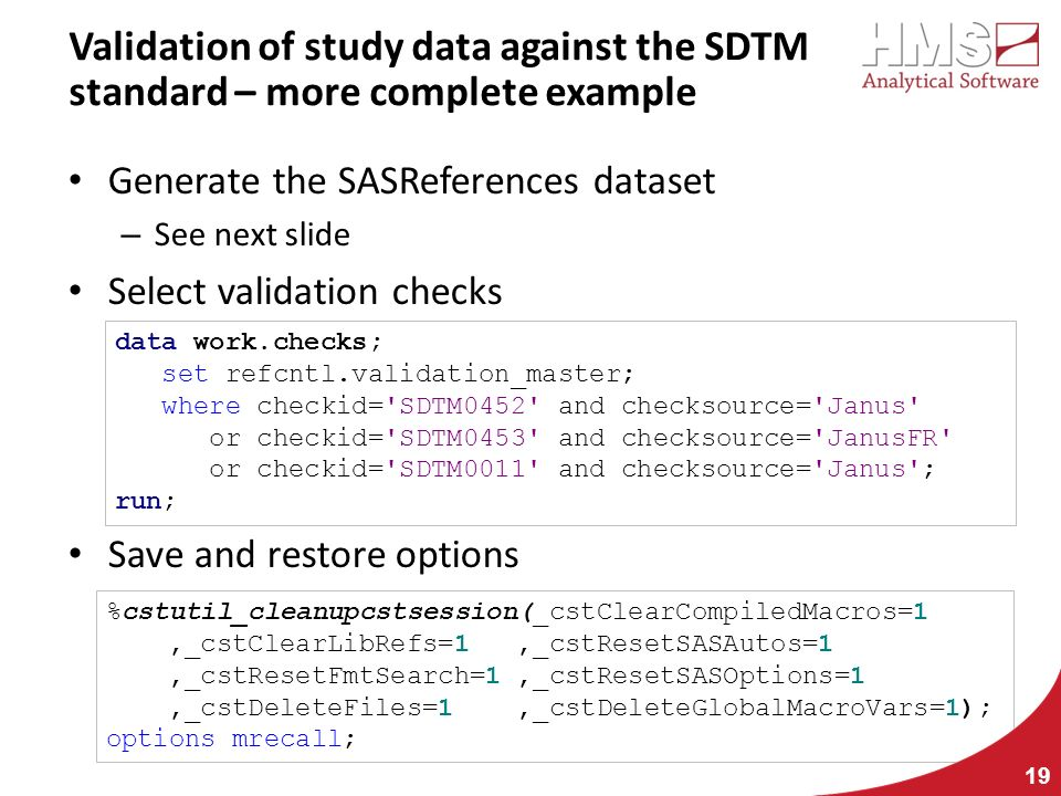 Validation of study data against the SDTM standard – more complete example