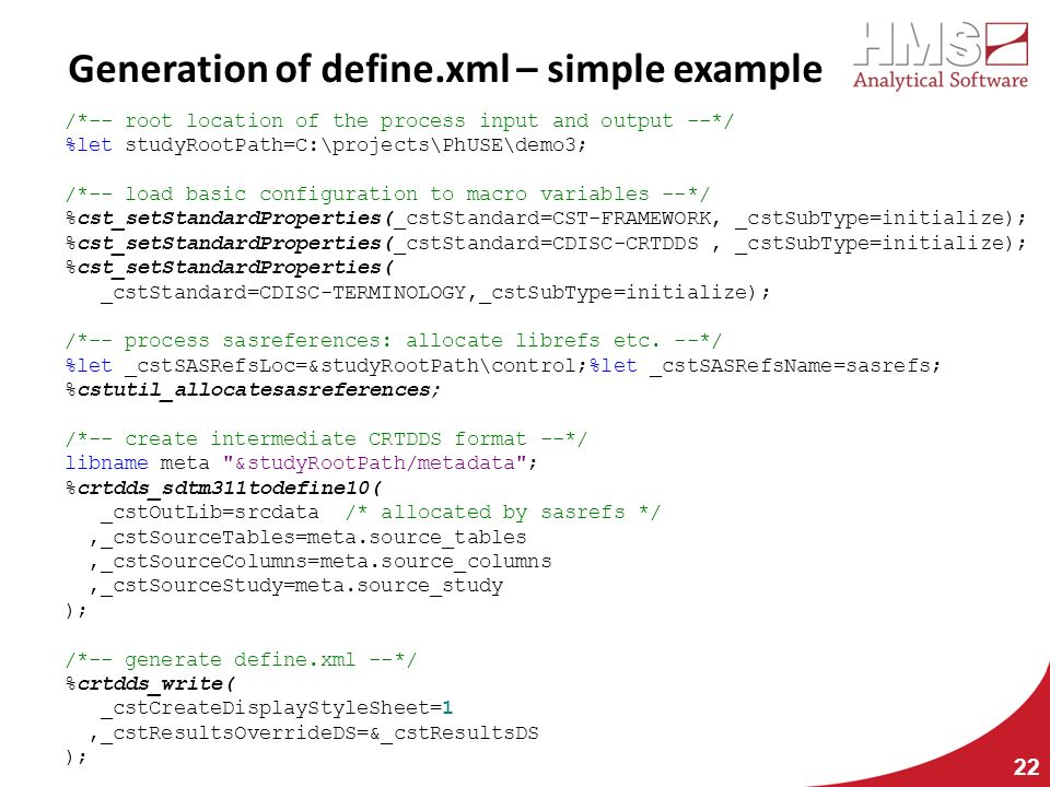 Generation of define.xml – simple example