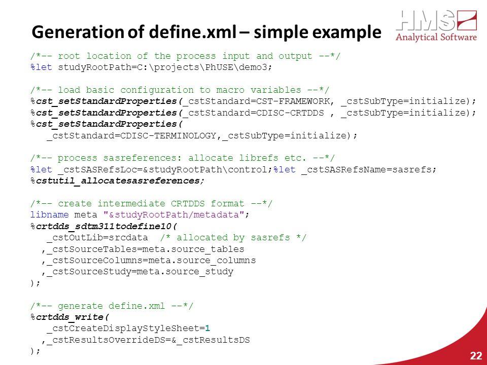 Generation of define.xml – simple example