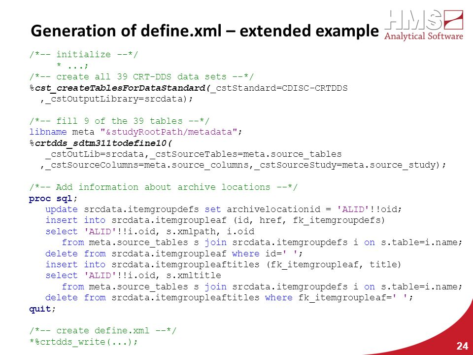Generation of define.xml – extended example