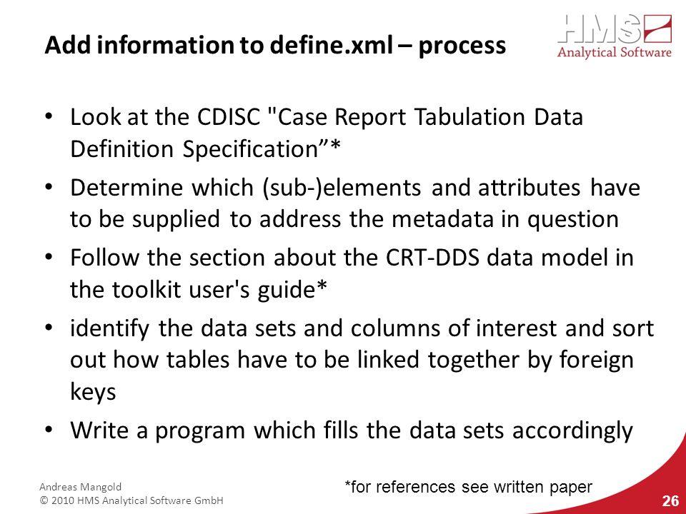 Add information to define.xml – process